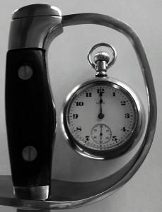 sword and pocketwatch logo crisp black and white